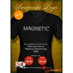 Velké Magnetic logo z kamínků Swarovski pro nažehlení na tričko